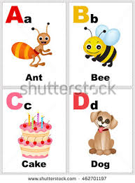 Alphabet Printable Flashcards Collection Letter Abcd Stock Vector ...