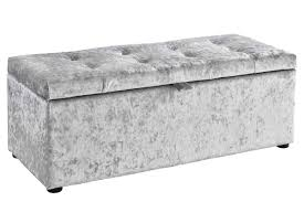 Ottomans For Bedroom Ottoman Storage Chest Bedroom Blanket Box Silver Crushed Fabric