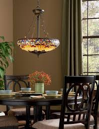 Tiffany Dining Room Lights Quoizel Belle Fleur 4 Light Tiffany Inverted Pendant Home