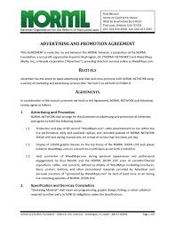 sample of contracts advertising and promotion agreement norml network and weed