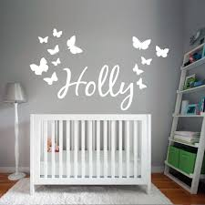 personalised name wall art sticker with erflies
