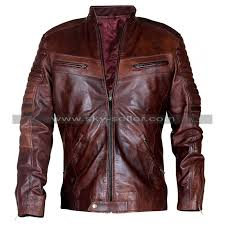 feature brown leather jacket for men