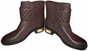 vince camuto winta brown leather boots flat riding moto quilted booties 6 5