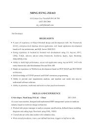 Net Developer ResumeMing Zhao Stunning Net Developer Resume