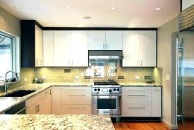 flush kitchen cabinets slab cabinet doors white door luxurious modern design featuring unfinished glass tile oak