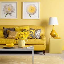 Living Room, Yellow Living Room With Yellow Sofa And Carpet And Table And  White Lamp