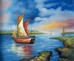 boat by the nyle hand painted oil painting