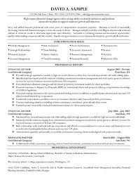 Finance Resume Skills Financial Entry Level Financial Advisor Resume
