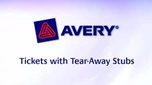 avery tickets tear away stubs 1 3 4 x 5 1 2 matte white avery tickets tear away stubs 1 3 4 x 5 1 2 matte white 200 tickets