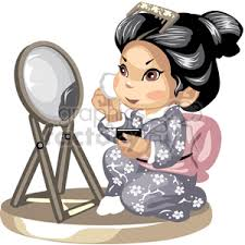 looking in mirror clipart. an asian girl looking in the mirror putting on makeup clipart