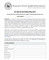 Security Incident Report Format Sample Security Incident