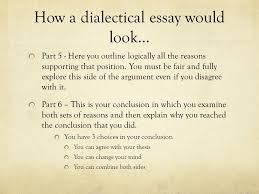writing a dialectical essay social unit project ppt how a dialectical essay would look part 5 here you outline logically all the
