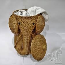 alluring natural rattan elephant wicker hamper for laundry room furniture  clothes storage animal home furniture accessories