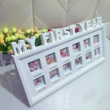 my first year baby photo frame picture display 12 months keepsake collage wood cod