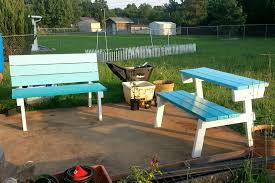 simple diy folding picnic with detached benches with back and painted with white and light blue color ideas