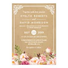 rustic wedding invitations & announcements zazzle com au Formal Rustic Wedding Invitations classy rustic floral frame kraft formal wedding card Country Wedding Invitations
