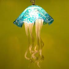 blown glass pendant lighting. custom made jellyfish pendant light turquoise blown glass lighting art chandelier h