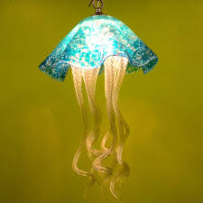 custom made jellyfish pendant light turquoise jellyfish blown glass lighting art glass chandelier