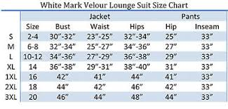 White Mark Size Chart Womens Athletic Soft Velour Zip Up Hoodie Sweat Pants Set