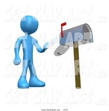 3d Clip Art of a Blue Man Standing in Front of a Mailbox with the