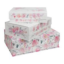 Pretty Floral Storage Boxes Palette Of Posies Set Of 3 Photo Document Office Storage Box Gift