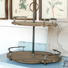 2 tier scalloped wood and metal serving