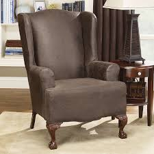 Living Room Chair Slipcovers Sure Fit Stretch Leather Wing Chair Slipcover Reviews Wayfair