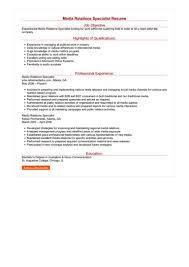 Media Relations Specialist Resume Great Sample Resume