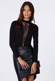 Marah Mesh Insert Long Sleeve Bodysuit Missguided