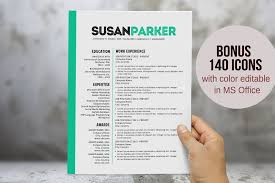 Bold Green Modern Resume Template Resume Templates Creative Market