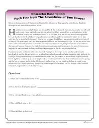 huck finn character descriptions worksheet activity character descriptions huck finn from the adventures of tom sawyer