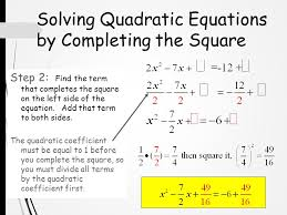 12 solving quadratic equations by completing the square