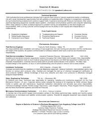 Job Winning Technical Specialist Resume Example for Field Service Job with Core  Competencies and Professional Experience