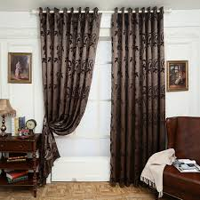 brown living room curtains. Jacquard Curtains Leave Design Brown Curtain Fabrics Window Treatments For Living Room Panel Shade Door Short Curtains-in From Home