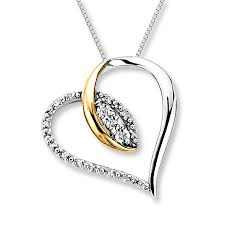 diamond heart necklace 1 20 carat tw sterling silver 10k gold tap to expand