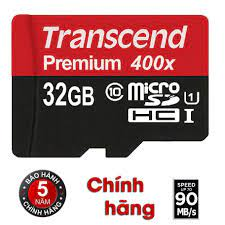 Thẻ nhớ 32GB microSD Premium 400x Transcend