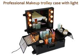 professional train travel trolley makeup beauty lighting led cosmetic case light up cosmetic case pvc