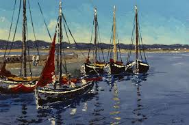 Ivan Sutton (b.1944) GALWAY HOOKERS BERTHED AT CARRAROE PIER