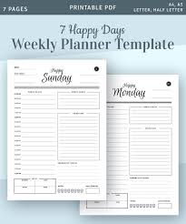 Daily Planner Sheets Weekly Planner Template 7 Happy Days Daily Planner Printable Hourly Layout Daily Pages Happy Planner Printable Pdf