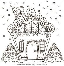 Small Picture Line Art Illustration Gingerbread House Coloring Stock Vector