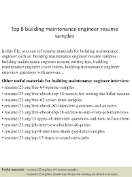 Top 8 building maintenance engineer resume samples In this file, you can  ref resume materials ...