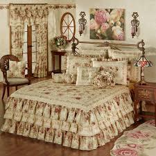 vintage rose ruffled grande bedspread flax