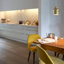 ideas for kitchen lighting. Kitchen With White Cabinetry And Back-lit Mosaic Splashback Tiles Ideas For Lighting