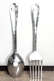 best big spoon and fork wall decor art ideas placed giant home design regard large wood