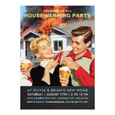 Housewarming Funny Invitations Funny Housewarming Party Invitations On Fire Zazzle Com