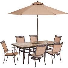 outdoor dining sets with umbrella. Hanover Fontana 7-Piece Aluminum Rectangular Outdoor Dining Set With Tile-Top Table, Sets Umbrella I