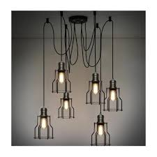 cage industrial light chandelier with edison bulbs