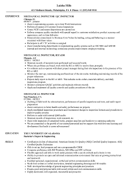 Mechanical Inspector Resume Mechanical Inspector Resume Samples Velvet Jobs 1