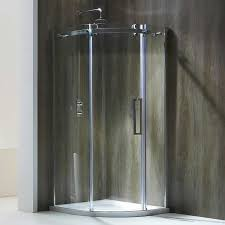photo of aquaglass frameless 8mm 1 door quadrant shower enclosure