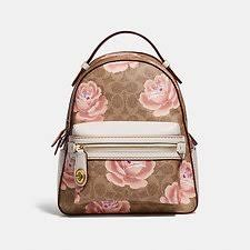 Image of Coach Australia B4 TAN CHALK CAMPUS BACKPACK 23 IN SIGNATURE ROSE  PRINT